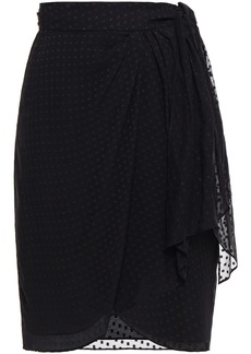 Iro Woman Fallon Fil Coupé Floral-print Silk-blend Chiffon Wrap Skirt Black