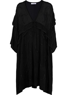 Iro Woman Falls Layered Embroidered Gauze Mini Dress Black