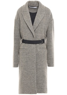 Iro Woman Faveur Belted Brushed Wool-blend Coat Mushroom