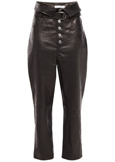 Iro Woman Fekire Belted Leather Tapered Pants Black