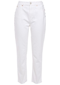 Iro Woman Fernos Lace-up High-rise Slim-leg Jeans White