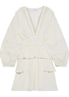 Iro Woman Figons Crochet-trimmed Ruffled Cotton-gauze Mini Dress Ivory