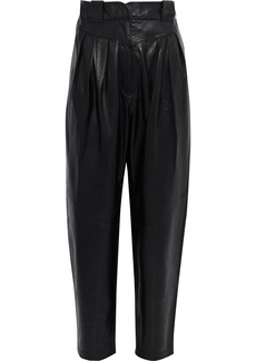 Iro Woman Finio Pleated Leather Tapered Pants Black