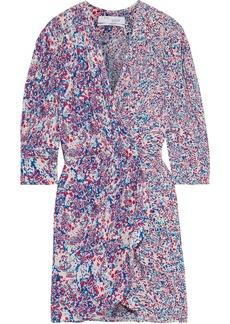 Iro Woman Firenze Wrap-effect Printed Crepe Mini Dress Blue