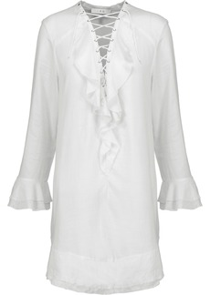 Iro Woman Florine Lace-up Ruffled Voile Mini Dress White