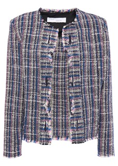Iro Woman Frannie Distressed Cotton-blend Tweed Jacket Royal Blue