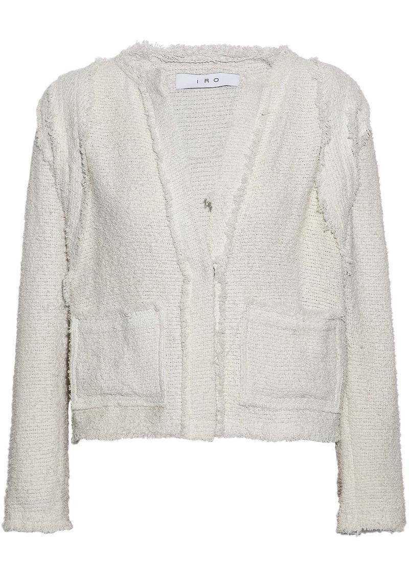 Iro Woman Frayed Cotton-blend Bouclé-tweed Jacket Ecru