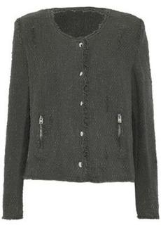Iro Woman Frayed Cotton-tweed Jacket Anthracite
