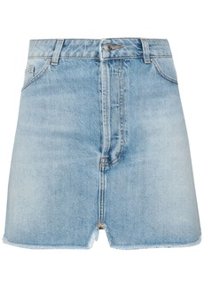 Iro Woman Frayed Distressed Denim Mini Skirt Light Denim