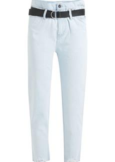 Iro Woman Frayed High-rise Slim-leg Jeans Light Denim