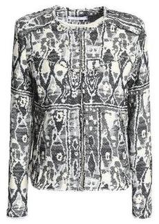 Iro Woman Frayed Jacquard Jacket Black