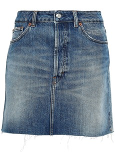 Iro Woman Frayed Two-tone Denim Mini Skirt Mid Denim