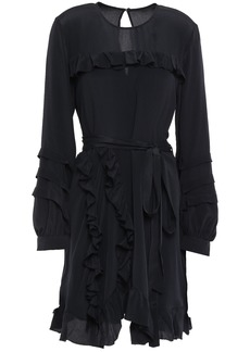 Iro Woman Frill Belted Ruffle-trimmed Crepe De Chine Mini Dress Black