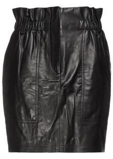 Iro Woman Fuzi Gathered Leather Mini Skirt Black