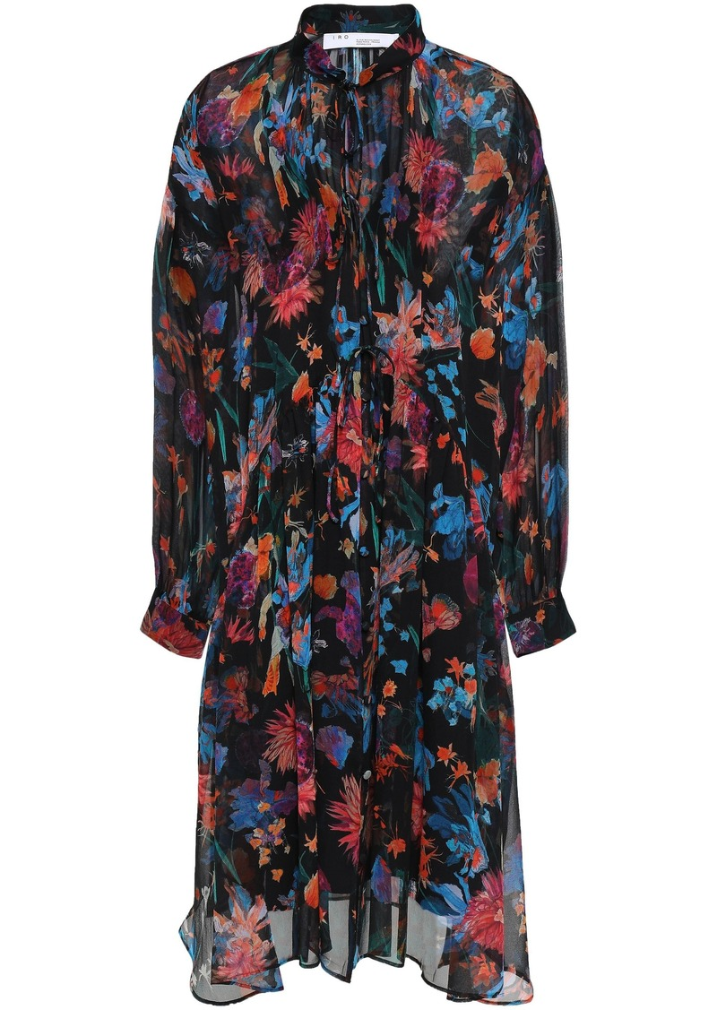Iro Woman Gathered Floral-print Silk-georgette Dress Black