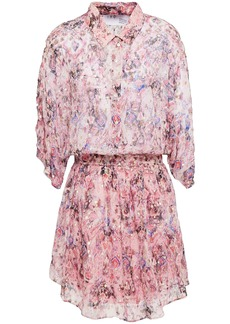 Iro Woman Gathered Printed Metallic Fil Coupé Silk-blend Mini Dress Pastel Pink