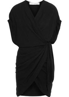 Iro Woman Gidya Slub Stretch-linen Jersey Mini Wrap Dress Black