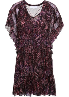Iro Woman Gilio Ruffled Printed Georgette Mini Dress Fuchsia