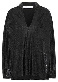 Iro Woman Great Oversized Sequined Stretch-jersey Blouse Black