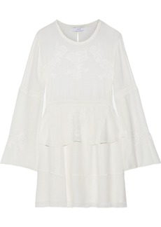 Iro Woman Grecia Lace-trimmed Crinkled-voile Mini Dress Ivory