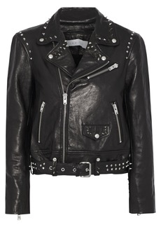 Iro Woman Guara Studded Printed Leather Biker Jacket Black
