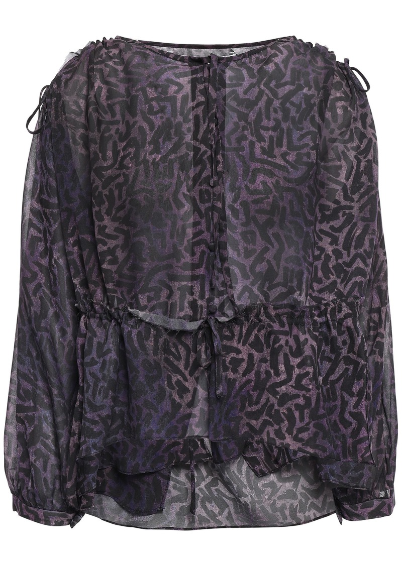 Iro Woman Guilt Printed Georgette Blouse Purple