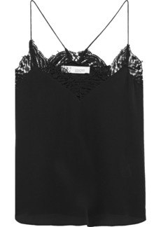 Iro Woman Halisk Lace-trimmed Silk Crepe De Chine Camisole Black