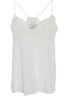 Iro Woman Halisk Lace-trimmed Silk Crepe De Chine Camisole Light Gray