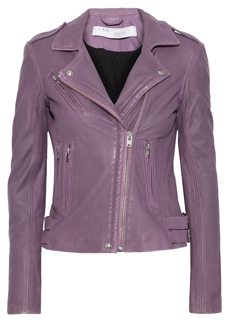 Iro Woman Han Textured-leather Biker Jacket Purple
