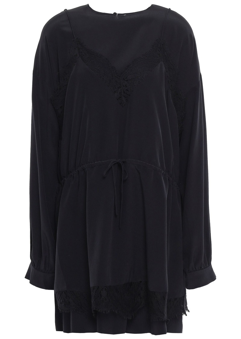 Iro Woman Hassle Layered Lace-trimmed Silk Crepe De Chine Mini Dress Black