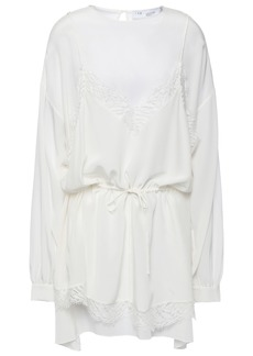 Iro Woman Hassle Layered Lace-trimmed Silk Crepe De Chine Mini Dress Ivory
