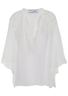 Iro Woman Hawlk Lace-trimmed Silk Crepe De Chine Blouse Ivory