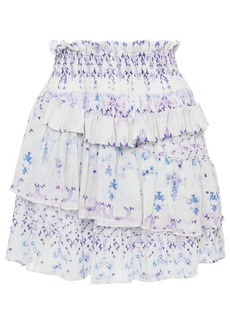 Iro Woman Hertia Tiered Shirred Printed Crepe De Chine Mini Skirt Ecru