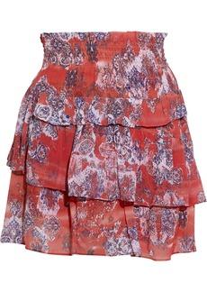 Iro Woman Herty Tiered Shirred Printed Crepe Mini Skirt Red