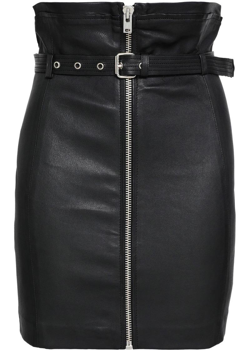 Iro Woman Hexim Belted Leather Mini Skirt Black