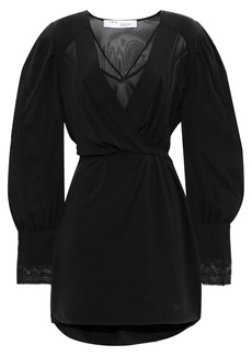 Iro Woman Honey Wrap-effect Silk-chiffon Mini Dress Black