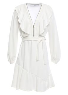 Iro Woman Hopeful Zip-detailed Ruffled Stretch-crepe Mini Dress Ivory