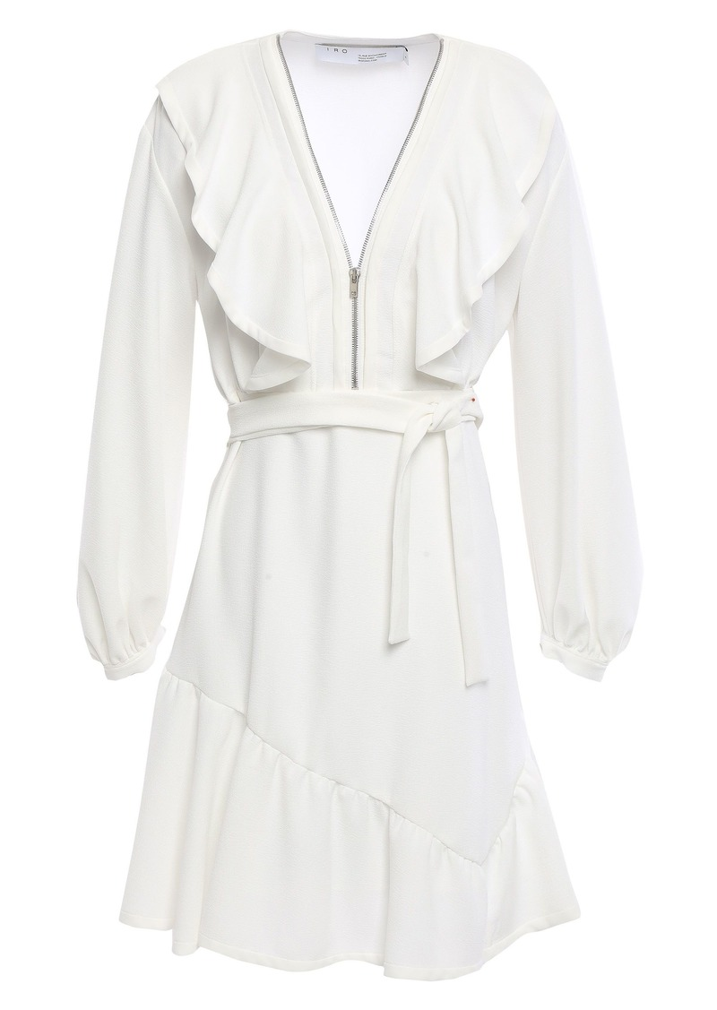 Iro Woman Hopeful Zip-detailed Ruffled Stretch-crepe Mini Dress Ivory