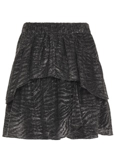 Iro Woman Huge Tiered Zebra-print Lurex Mini Skirt Silver