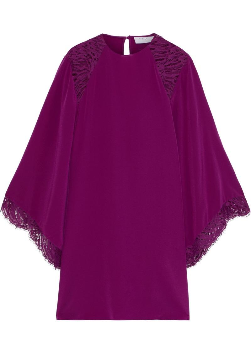 Iro Woman Hunt Lace-paneled Silk Crepe De Chine Mini Dress Plum