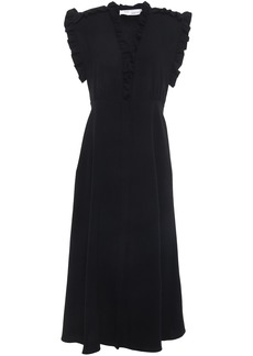 Iro Woman Hurray Ruffle-trimmed Stretch-crepe Midi Dress Black