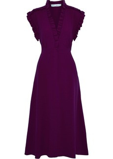 Iro Woman Hurray Ruffle-trimmed Stretch-crepe Midi Dress Purple