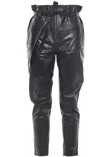 Iro Woman Instinct Cropped Lace-up Leather Tapered Pants Black