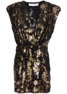 Iro Woman Irva Wrap-effect Ruffled Sequined Chiffon Mini Dress Gold