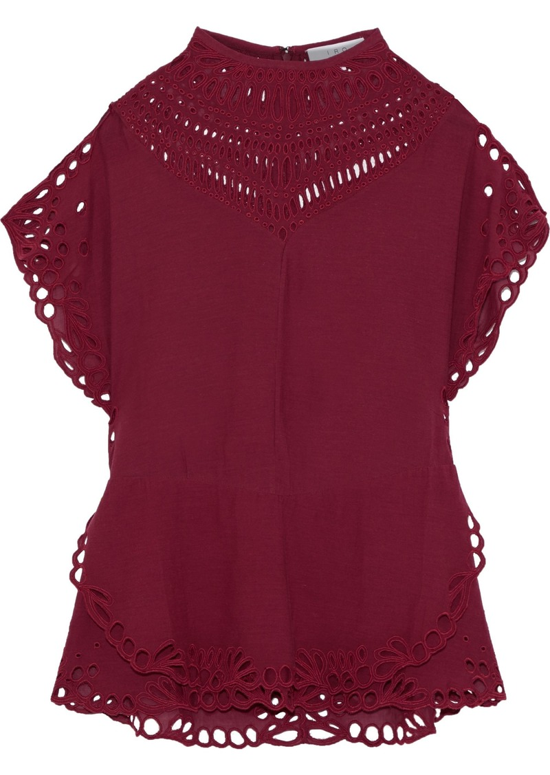 Iro Woman Jalaspe Broderie Anglaise Voile Peplum Top Claret
