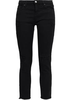 Iro Woman Jarod Cropped Distressed Mid-rise Slim-leg Jeans Black