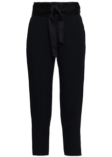 Iro Woman Jeava Cropped Belted Crepe Tapered Pants Black