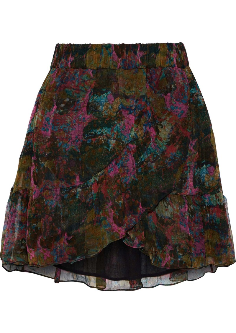 Iro Woman Jepy Wrap-effect Printed Georgette Mini Skirt Black