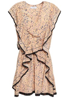 Iro Woman Jicka Ruffled Printed Silk Crepe De Chine Mini Dress Pastel Orange