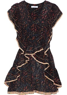 Iro Woman Jicka Ruffled Printed Silk Crepe De Chine Mini Dress Black